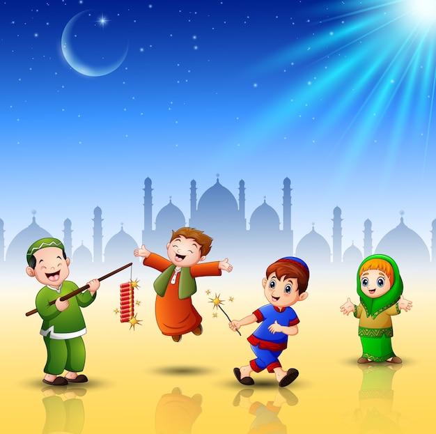 Feliz, crianças, comemorar, para, eid, mubarak, com, mesquita, fundo