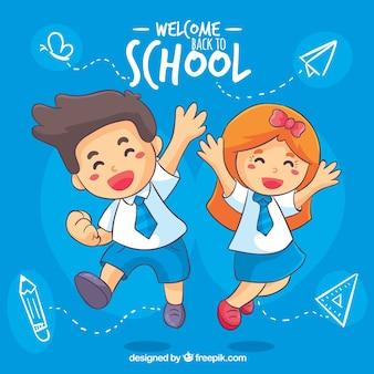 Feliz, crianças, costas, para, escola, fundo