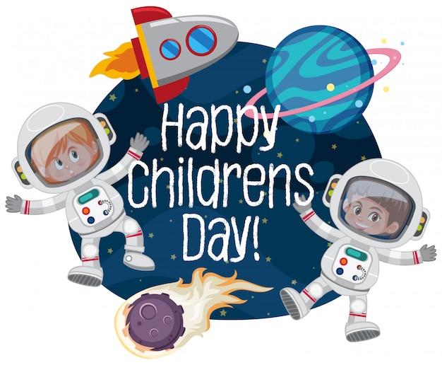 Feliz, crianças, dia, espaço, cena