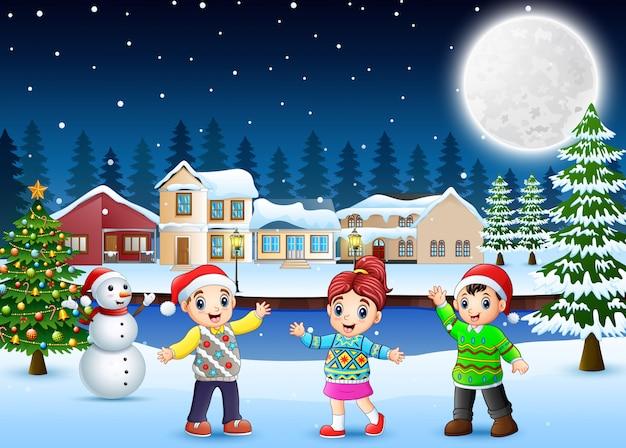 Feliz, crianças, em, a, natal, dia
