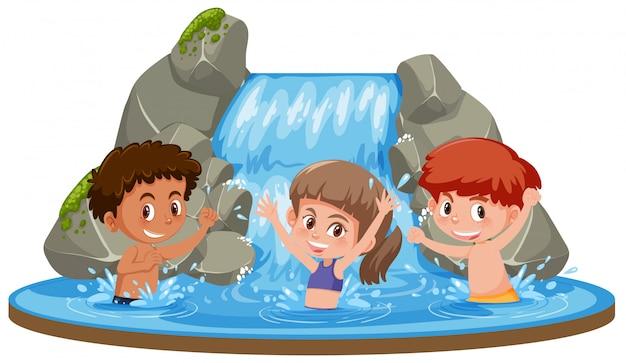 Feliz, crianças, em, cachoeira