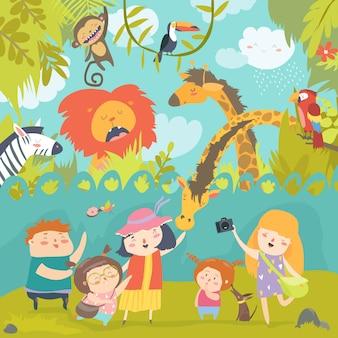 Feliz, crianças, em, jardim zoológico, com, selvagem, africano, animais