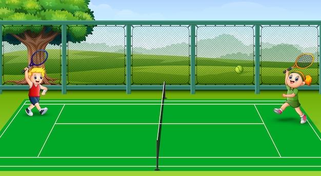 Feliz, crianças, jogando tênis, em, a, cortes