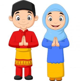 Feliz crianças muçulmanas dos desenhos animados