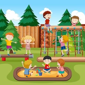 Feliz, crianças, pátio recreio, cena