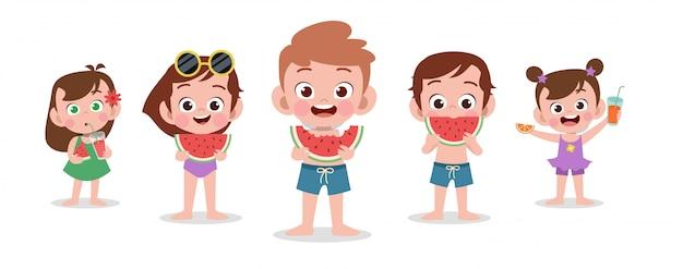 Feliz, crianças, praia, feriado, vetorial, ilustração, isolado