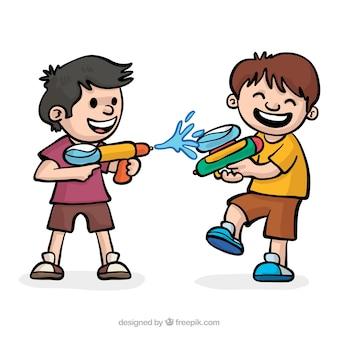 Feliz, crianças, tocando, com, injetores água