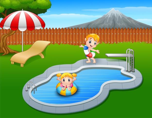 Feliz, crianças, tocando, em, piscina