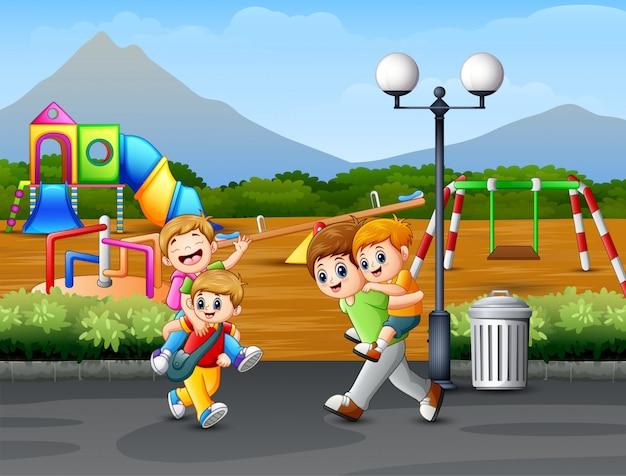Feliz, crianças, tocando, estrada