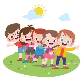 Feliz, crianças, tocando, junto