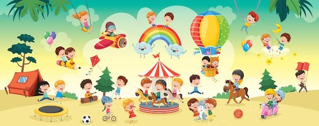Feliz, crianças, tocando, paisagem, ilustração