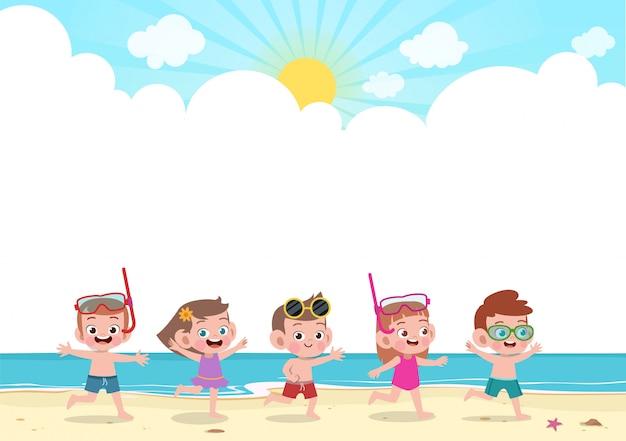 Feliz, crianças, tocando, praia