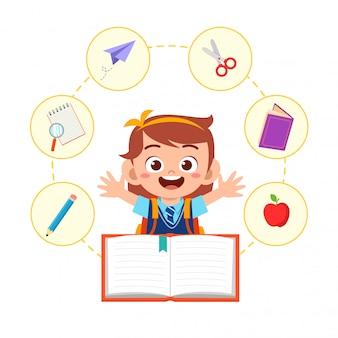 Feliz, cute, criança pequena, menina escola, ler livro