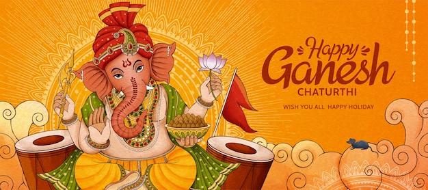 Feliz desenho de banner de ganesh chaturthi com ganesha e bateria