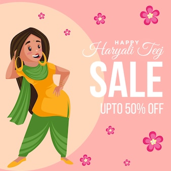 Feliz desenho de banner de venda haryali teej