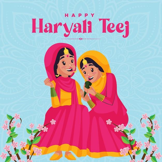 Feliz desenho de banner haryali teej
