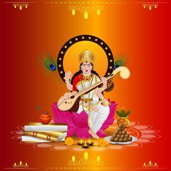 Feliz design de cartão vasant panchami com ilustração criativa da deusa saraswati