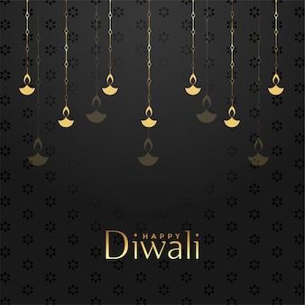 Feliz design de fundo do festival em preto e dourado de diwali