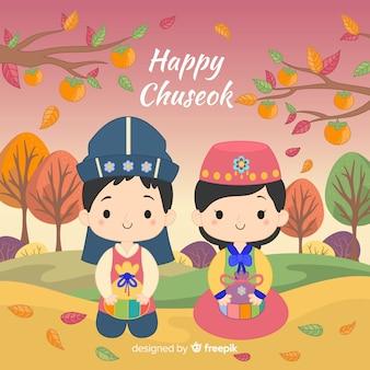 Feliz dia chuseok com desenhos animados
