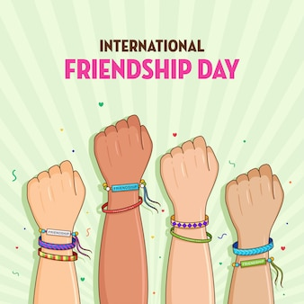 Feliz dia da amizade amigos com uma pilha de mãos mostrando união e trabalho em equipe, pessoas juntando as mãos Vetor Premium