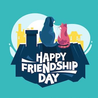 Feliz dia da amizade, cão e gato brincando no telhado