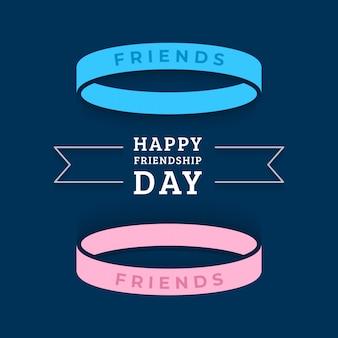 Feliz dia da amizade cartão com duas pulseiras