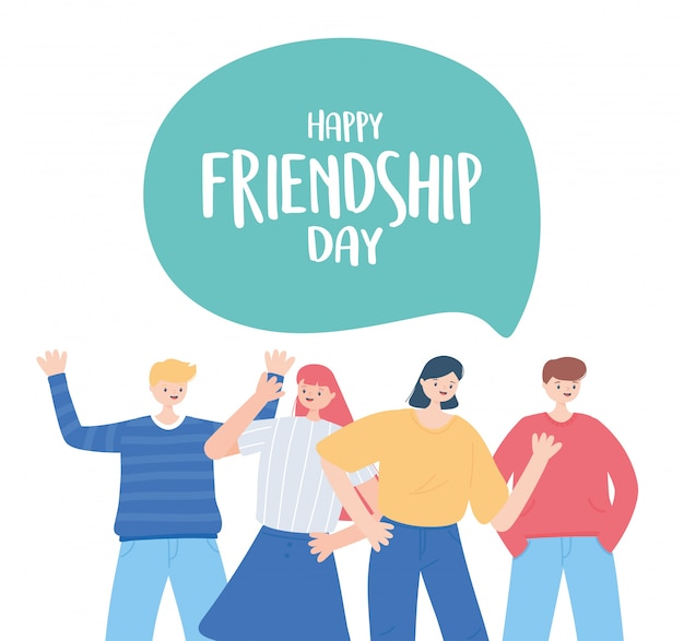 Feliz dia da amizade, celebração de evento especial de grupo de amigos diversos
