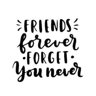 Feliz dia da amizade letras de mão. melhores amigas para sempre. modelo de tipografia de cartão de felicitações.