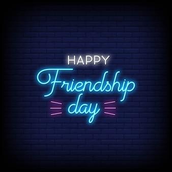 Feliz dia da amizade néon estilo sinais