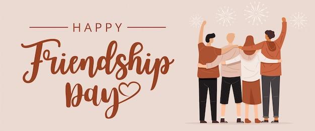 Feliz dia da amizade, vista traseira das pessoas abraçando juntos
