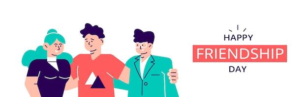Feliz dia da amizade web banner com grupo diverso amigo de pessoas abraçando juntos. equipe de geração jovem abraço no feriado do evento social. ilustração de design moderno estilo plano para página da web, cartões