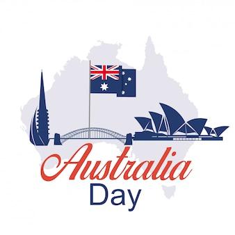 Feliz dia da austrália 26 de janeiro de fundo festivo
