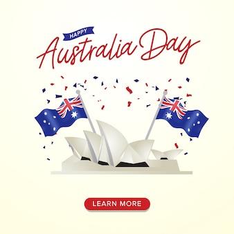 Feliz dia da austrália celebração cartaz com bandeiras