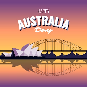 Feliz dia da austrália cidade de sydney