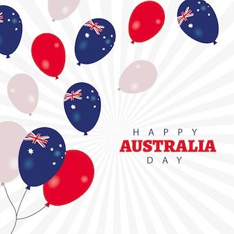 Feliz dia da austrália com balões de hélio flutuante cartão de felicitações de vetor