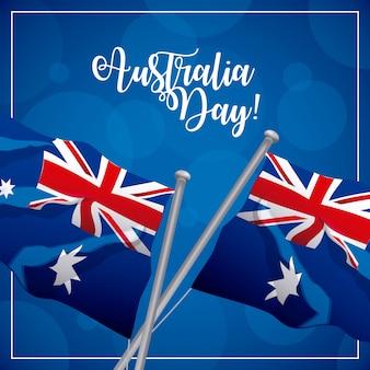 Feliz dia da austrália com bandeiras