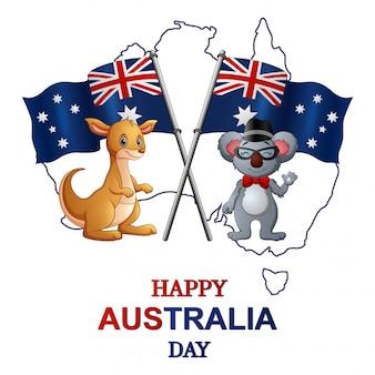 Feliz dia da austrália com canguru e coala