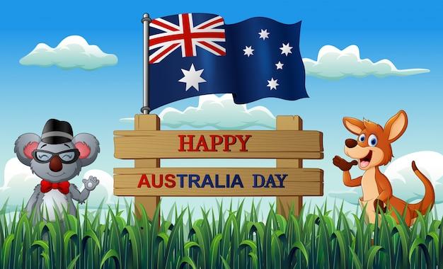 Feliz dia da austrália com coala e canguru na natureza