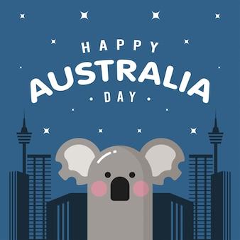 Feliz dia da austrália com coala