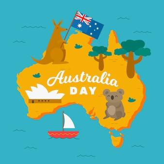 Feliz dia da austrália com coalas e cangurus