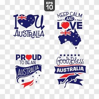 Feliz dia da austrália emblemas conjunto ilustração