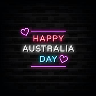 Feliz dia da austrália modelo de design de sinais de néon estilo néon