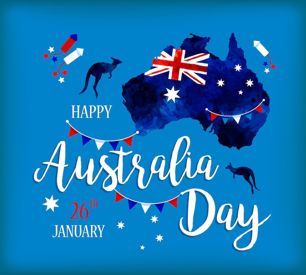 Feliz dia da austrália rotulação