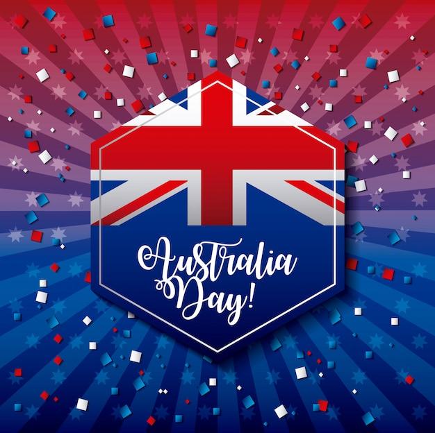 Feliz dia da austrália rótulo com bandeira