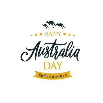 Feliz dia da austrália saudação banner com canguru.