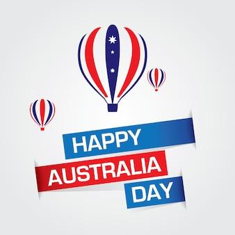 Feliz dia da austrália vector com balões de ar quente