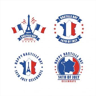 Feliz dia da bastilha 14 de julho paris frança coleção de distintivos