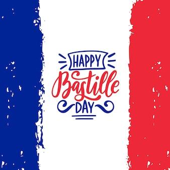 Feliz dia da bastilha caligrafia design. ilustração vetorial na bandeira nacional francesa.