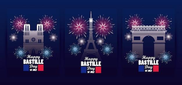 Feliz dia da bastilha celebração com bandeiras e monumentos