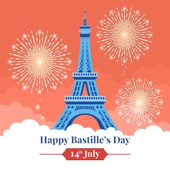 Feliz dia da bastilha com fogos de artifício e torre eiffel